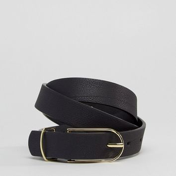 ASOS DESIGN fine oblong clean waist and hip jean belt in water based pu at asos.com