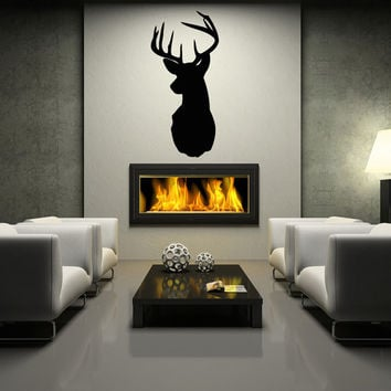 Deer Head Wall Decal Silhouette Dining Hunting Room Wall Decal Art Decor