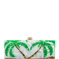 Edie Parker Flavia Palm Trees Clutch Bag, White/Gold/Green