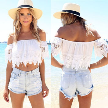 Sexy Fashion Women Boho Lace White Blouse Off Shoulder Crop Shirt Tops S/M/L/XL = 5658138945