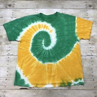 Vintage 90s Spiral Tie Dye Print Yellow / Green T-Shirt Mens Size XL