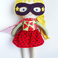 Superhero girl ragdoll gift toy kids toddler girls with mask and cape for superhero birthday party dolls with watermelon print  custom dolls