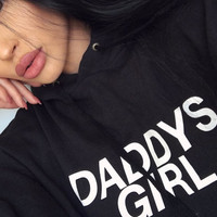 Daddys Girl Women's Casual Black Gray Pink & White Pullover Hoodie