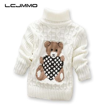 LCJMMO Boys Sweaters Cartoon Baby Girl Sweater jumper Autumn Winter Knitted Pullover Turtleneck Warm Outerwear Kids Sweater