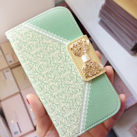 new Leather chain iPhone 5S case iPhone 5C case iPhone 4 case 4S case samsung galaxy s5 case  Galaxy S4 case S3 Note 2 3 card wallet support