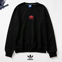 Adidas New fashion embroidery letter leaf couple long sleeve top sweater Black