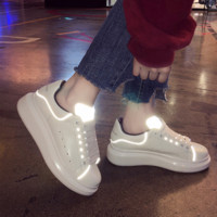 Alexander Mcqueen Tide brand women's thick-soled raised reflective casual white shoes