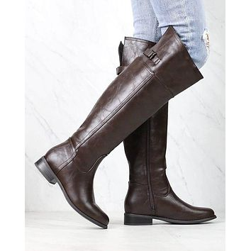 Rider's Women's Distressed Tall Riding Boots in Dark Brown