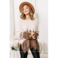 On The Frayed Side Tie Dye Knit Top | Brown