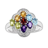 Sterling Silver Gemstone Cluster Ring (Blue/Stone/Silver)