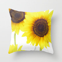 Three Sunflowers  Throw Pillow by Tanja Riedel | Society6
