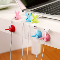 3pcs Lot Cute Rabbit Cable Drop Clip Desk Tidy Organiser Wire Cord Lead Holder