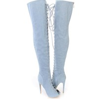 Fashion Over The Knee High Martin Women Lace Up Type Boots Thigh High Knight Bootie Shoes Blue 1