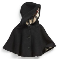Infant Girl's Burberry 'Rosa' Hooded Wool Cape, Size Small - Black