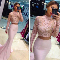 High Neck Two Piece Mermaid Prom Dresses