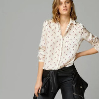 White Floral Pattern Print Button Long-Sleeve Collared Shirt