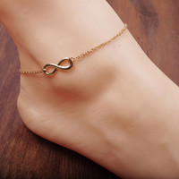 Alloy 8 Shape Design Foot Feet Ankle Chain Anklet Women Girl Charm Jewelry  SM6
