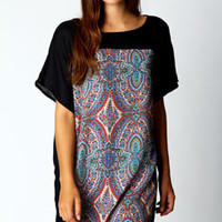 Lindy Paisley Front Panel Shift Dress