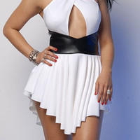 White Halterneck Backless Ruffled Dress