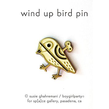 Wind Up Bird Pin by boygirlparty - Illustrated Enamel Pins