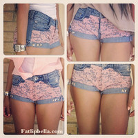 Low rise Pink Lace booty shorts.