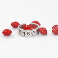 Sweet Sixteen Ring, Sweet 16 Birthday Gift Ring, Hand Stamped 16 with Heart Aluminum Ring, Sweet 16 Jewelry