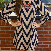Multicolor Chevron Printed Long Sleeve Mini Dress