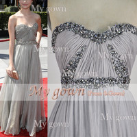 A Line Beads Crystal Draped Chiffon Prom Dress, Wedding Dress, Evening Gown,Dresses