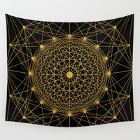 Geometric Circle Black and Gold Wall Tapestry by Fimbis