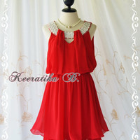 Keeratika B - Sexy Cocktail Dress Red Dress Egyptian Pearl Beads Neckline Layers Skirt Prom Dress Party Dress Night Dress