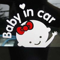 Baby In Car Car Stickers Female Baby In Car Warning Stickers - White And Red = 1705897604
