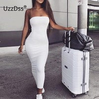 UZZDSS 2018 Cotton Summer Strapless Sleeveless Women Maxi Dress Sexy Bodycon Dress Long Dresses Tunic Vestido Midi Plus Size