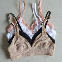 Intimate Lace Triangle Lace Bralette (6-color)