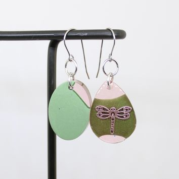 Pink and green dragonfly earrings