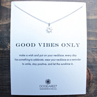 """dogeared """"Reminder - Good Vibes Only"""" 16"""" dainty necklace in sterling silver"""