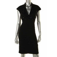 R&M Richards Womens Matte Jersey Sequined Cocktail Dress