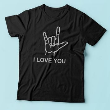 I Love You American Sign Language Valentines Day Men'S T Shirt