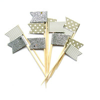 12 Grey Stripe, Silver Glitter & Polka Dot Flag Cupcake Toppers - Washi Tape Cupcake Toppers, wedding, engagement, birthday, tea party