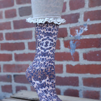 Women's Printed Knee High With Lace by BearPaw {Cheetah/Lace}