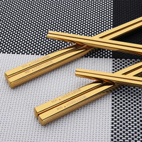 Hot Sale 1 Pair Titanium Plating Gold Chinese Chopsticks Reusable 304 Stainless Steel Chop Sticks Sets Sushi Hashi Baguette