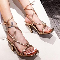 New ladies personality strap high heel sandals