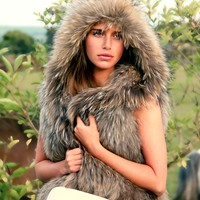 Fur Hooded Gilet - Jackets & Coats - Clothing