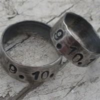 """Sterling Silver Set of Two Artisan Rings - """"Special Date Rings"""""""