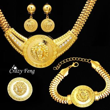 Free shipping Women's 18k Yellow Gold Plated Austrian Crystal Dubai African Jewelry Sets Necklace Earrings Bracelet Ring Sets