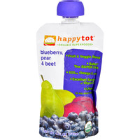 Happy Tot Baby Food - Organic - Blueberry Pear And Beet - Stage 4 - 4.22 Oz - Case Of 16