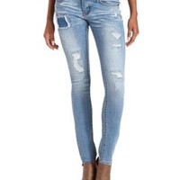Low-Rise Patched & Destroyed Skinny Jeans