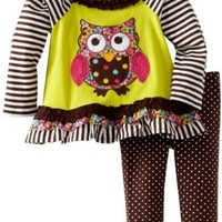 Rare Editions Baby Girls' Legging Set, Yellow/Lime/Brown, 12 Months