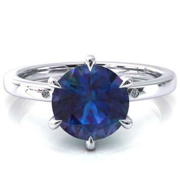 Maise Round Alexandrite 6 Prong Diamond Accent Engagement Ring