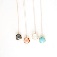 RADIANCE glass pendant necklace. long necklace. layer necklace. everyday necklace. bridesmaid jewelry. mint necklace. psalm 34:4-5