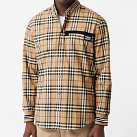 BURBERRY Fashion Women Men Casual Classic Plaid Long Sleeve Shirt Top